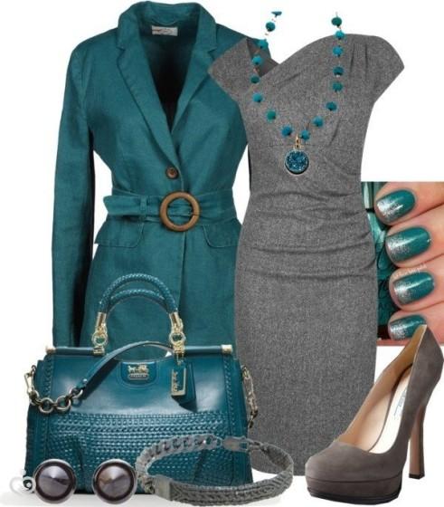 Что одеть с серым платьем