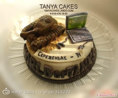 Торт фото word of tanks с компьютером из мастики