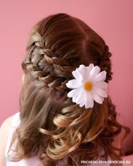 Прически на среднюю длину волос для девочки