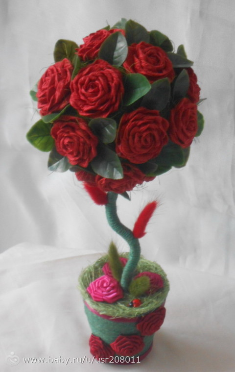 Розы из бумаги для топиариев