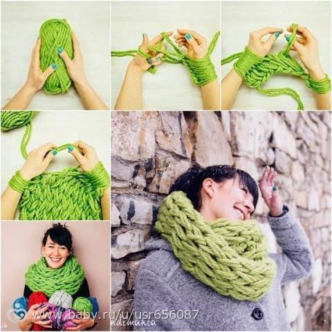 Вязанные спицами шарфы своими руками