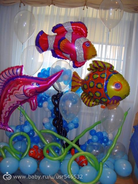 украшение зала в стиле рыбалки
