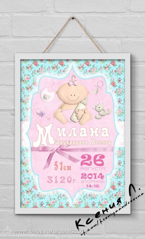 Метрика для новорожденных постер своими руками фото 30