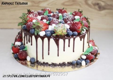 Заказные торты фруктовые фото