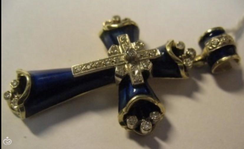 надёжно поможем крестик лепесток с керамикой старинный цена медь выделения (густые мутные)